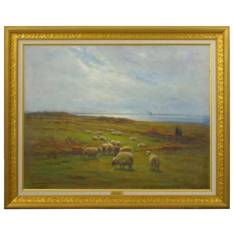 """""""Glimpse of the Sea"""" Antique Oil Landscape Painting by Carleton Wiggins of Sheep For Sale"""