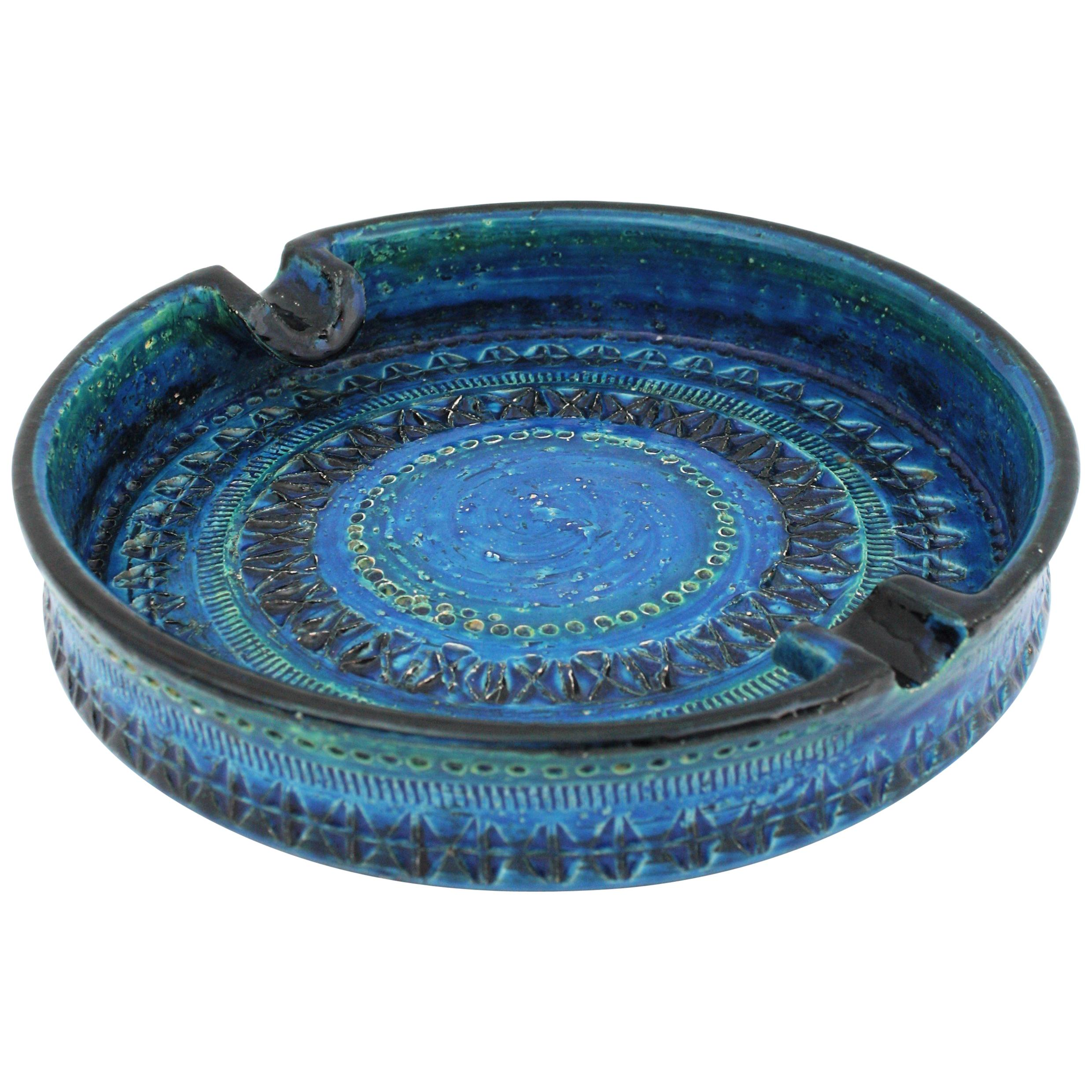 Italian 1950s Giant Aldo Londi Bitossi Rimini Blue Glazed Ceramic Round Ashtray