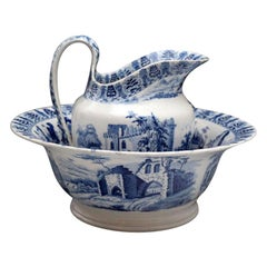 Antique English Pottery Ewer and Wash Basin Blue and White, Early 19th Century