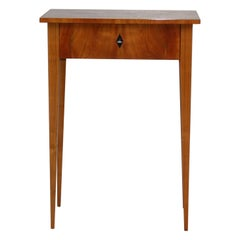 Small Side Table with Drawer, Biedermeier Style, Shellac Polished