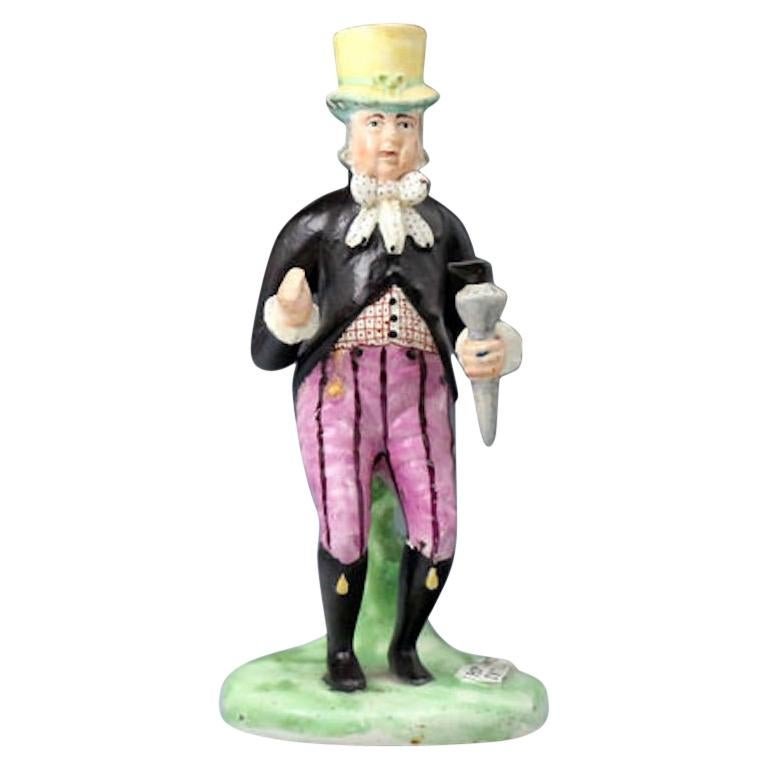 Staffordshire Pottery Pearlware Figure of Paul Pry, England, 1820 For Sale