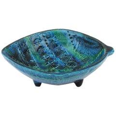 Italian 1960s Aldo Londi Bitossi Rimini Blu Glazed Ceramic Leaf Shaped Ashtray