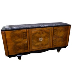 1940s Parisian Walnut Sideboard with Original Marble Surface
