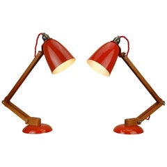 Pair Vintage Wood Orange Red Maclamp Table Desk Lamps, T. Conran, 50s Anglepoise