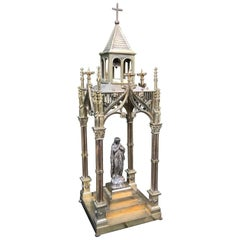Antique Late 1800s Gothic Revival Bronze W. Silvered Mary Tabler Chapel Arbor