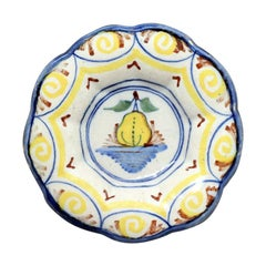 Antique Delftware Lobed Dish Polychrome Coloured with Image of a Pear circa 1700