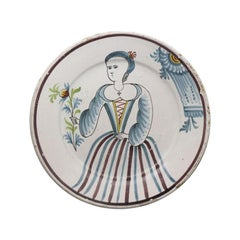 Dutch Delftware Pottery Charger with Image of a Lady in Polychrome Colors
