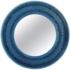 Italian Midcentury Aldo Londi Bitossi Rimini Blue Glazed Ceramic Round Mirror