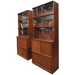 Pair of Teak Secretaire and Sliding Doors Bookcase Cabinets, circa 1960