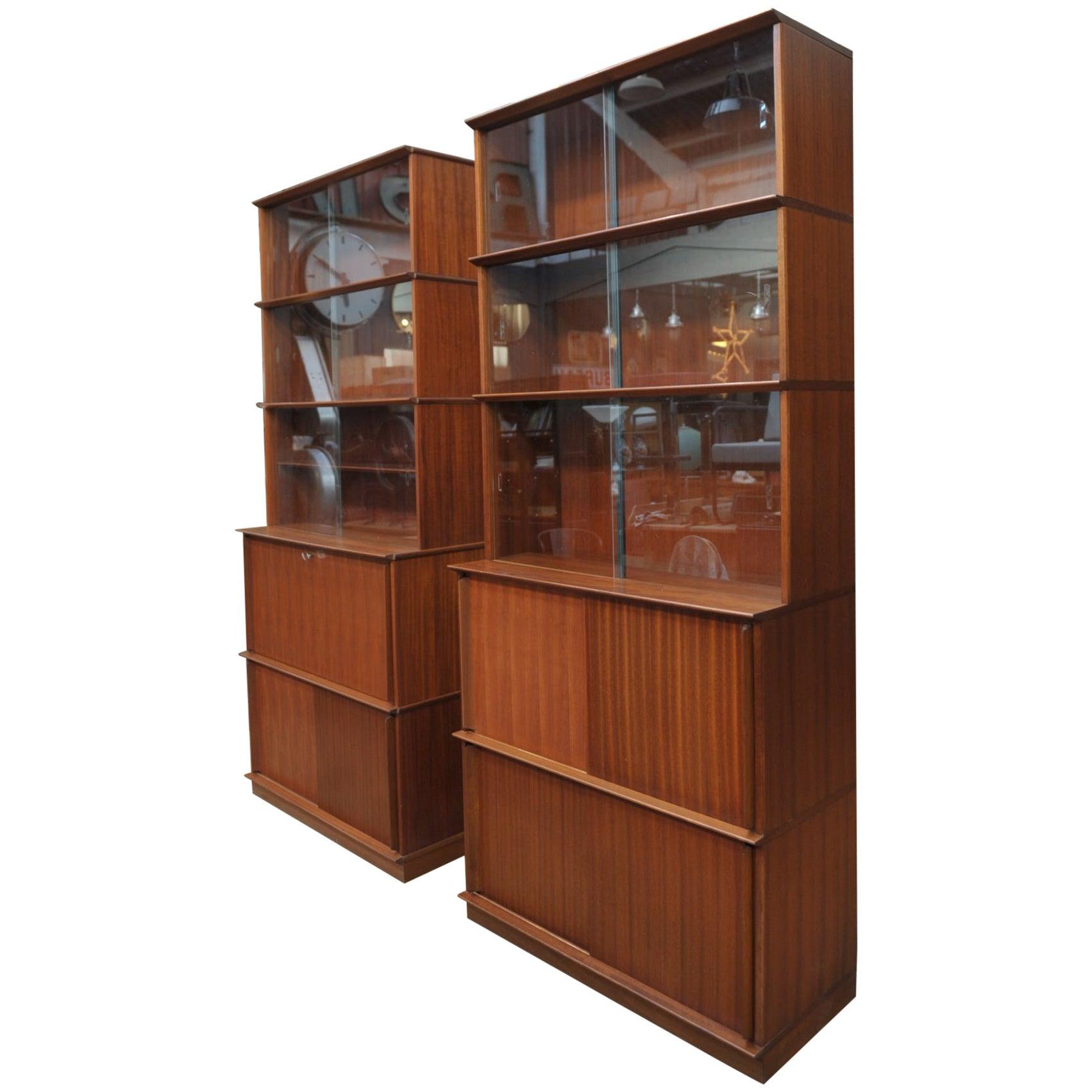 Pair of Teak Secretaire and Sliding Doors Bookcase Cabinets, circa 1960