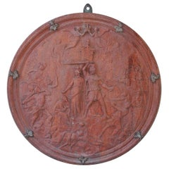 Italian Neoclassical Terracotta Shield with Bronze Fleur-de-Lis Mounts, C. 1840