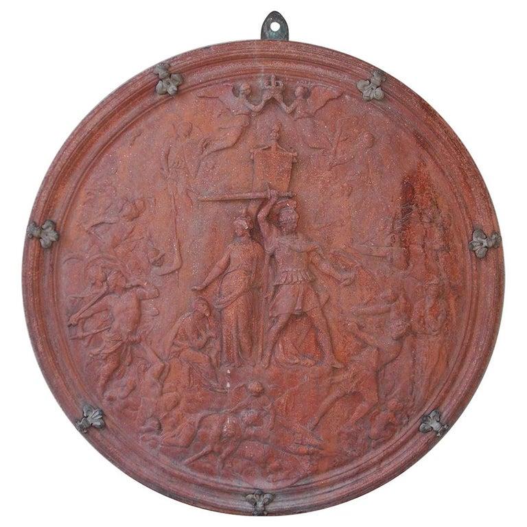 Italian Neoclassical Terracotta Shield with Bronze Fleur-de-Lis Mounts, C. 1840 For Sale