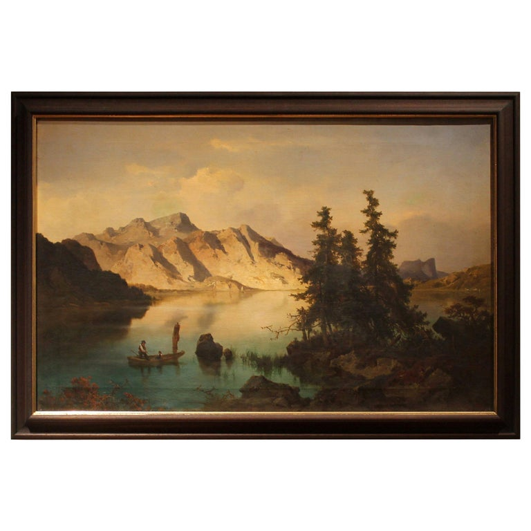 J. Brunner 1869 Oil on Canvas Austrian Landscape with Lake and Mountain Painting For Sale
