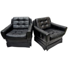 Pair of 1960s German Midcentury Black Leather Club Chairs by Profilia