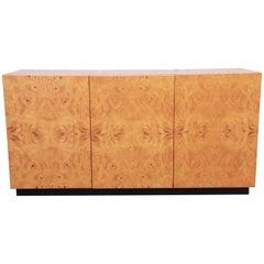 Milo Baughman Burled Olive Wood Sideboard Credenza, Newly Refinished