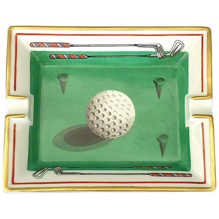 Fine Hermes Paris Porcelain Ashtray Golf Motif Gilt Green Red Fornasetti Style For Sale