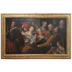 17th Century Floris Van Schooten Flemisch Oil on Canvas Painting