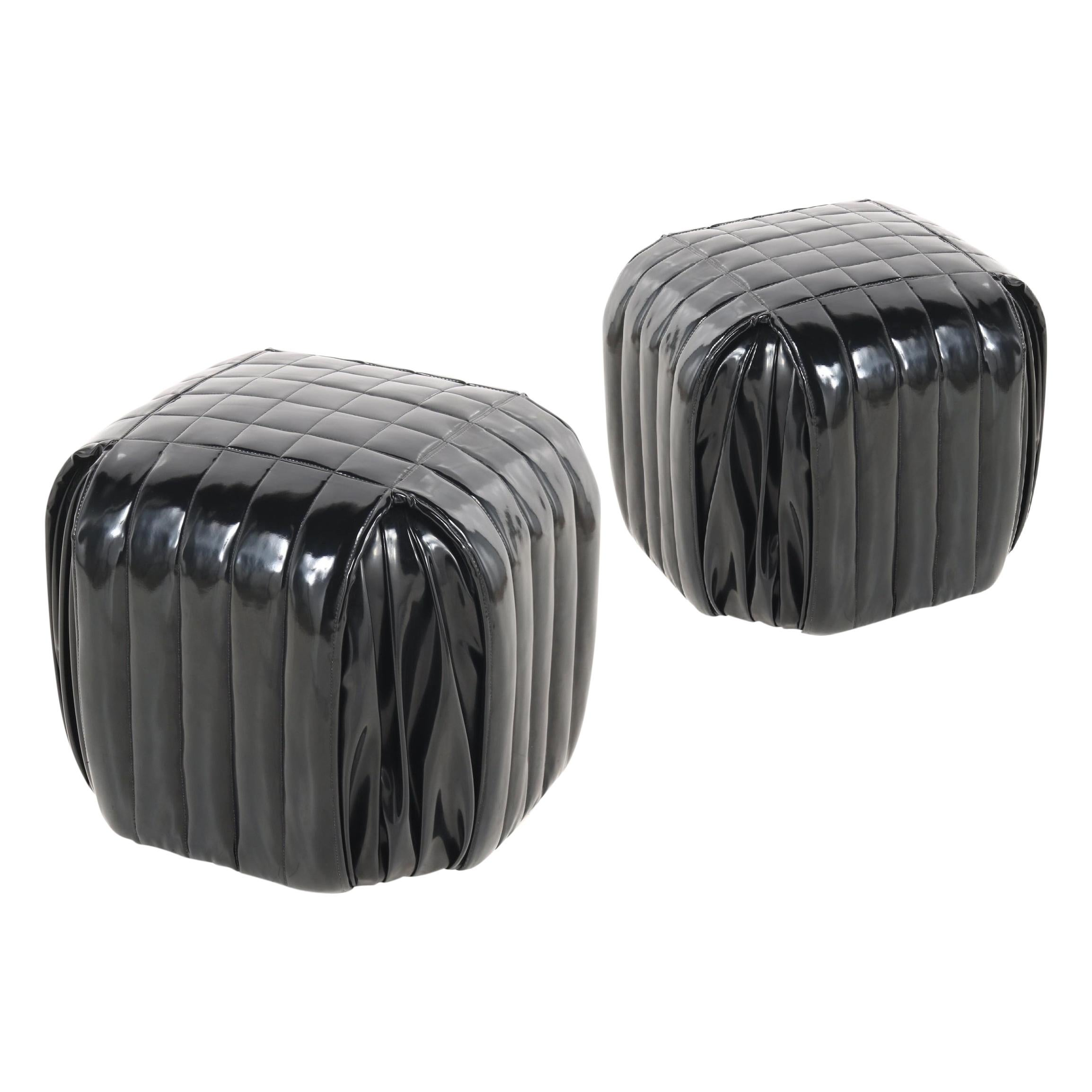 Pair of Italian Black Patent Leather Stools or Poufs