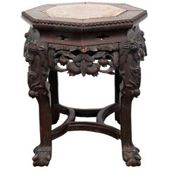 Chinese Inset Marble Top Taboret Plant Fern Stand