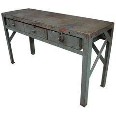 Industrial Iron Console Table, circa 1950