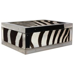 Box in Genuine Zebra Leather and Brass Nickel-Plated Trims