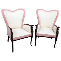 Pair of Valentines Design Wing Chairs