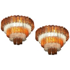 Pair of Venini Amber and Ice Color Murano Glass Chandelier or Flush Mount , 1970
