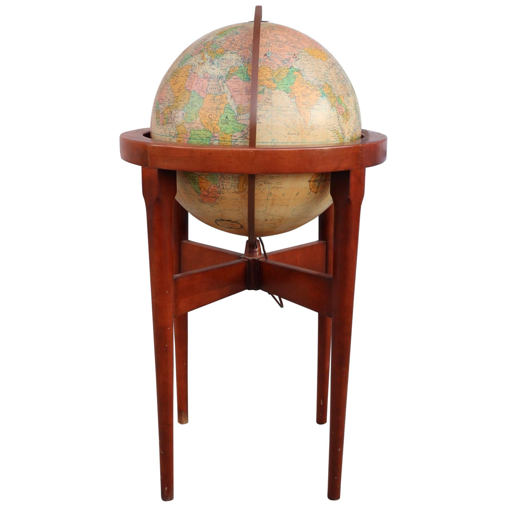 Paul McCobb Style Standing Glowing Globe on Modernist Frame by Replogle