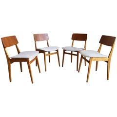 Set of 4 Finnish / Scandinavian Midcentury Teak and Birch Dining Chairs