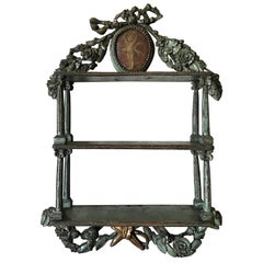 18th Century Carved and Painted Wood Etagere Wall Shelf, Provence