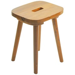 Solid Elm, Rural Stool from Swiss Alpine Carpenter's Workshop