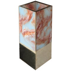 Marble Effect Methacrylate and Brass Table Lamp, Spain, 2016