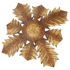 Gilt Tole Acanthus Flush Mount