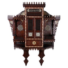 Large Syrian Inlaid Wall Cabinet or Shelf
