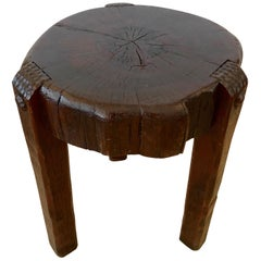 Wonderful Antique Arts & Crafts Rustic Slab Top Round Drinks Table End Table
