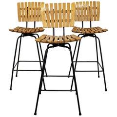 Set of 3 Mid-Century Modern Arthur Umanoff Style Swivel Slat Bar Stools