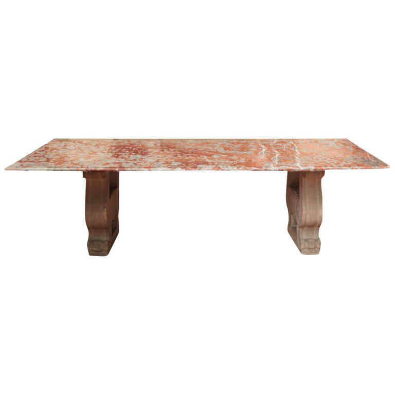 19th Century Italian Red Marble Top Dining Table with Limestone Bases For Sale