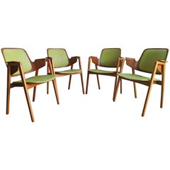 Set of 4 Elias Barup Teak Dining Chairs with Original Upholstery, 1950s Sweden