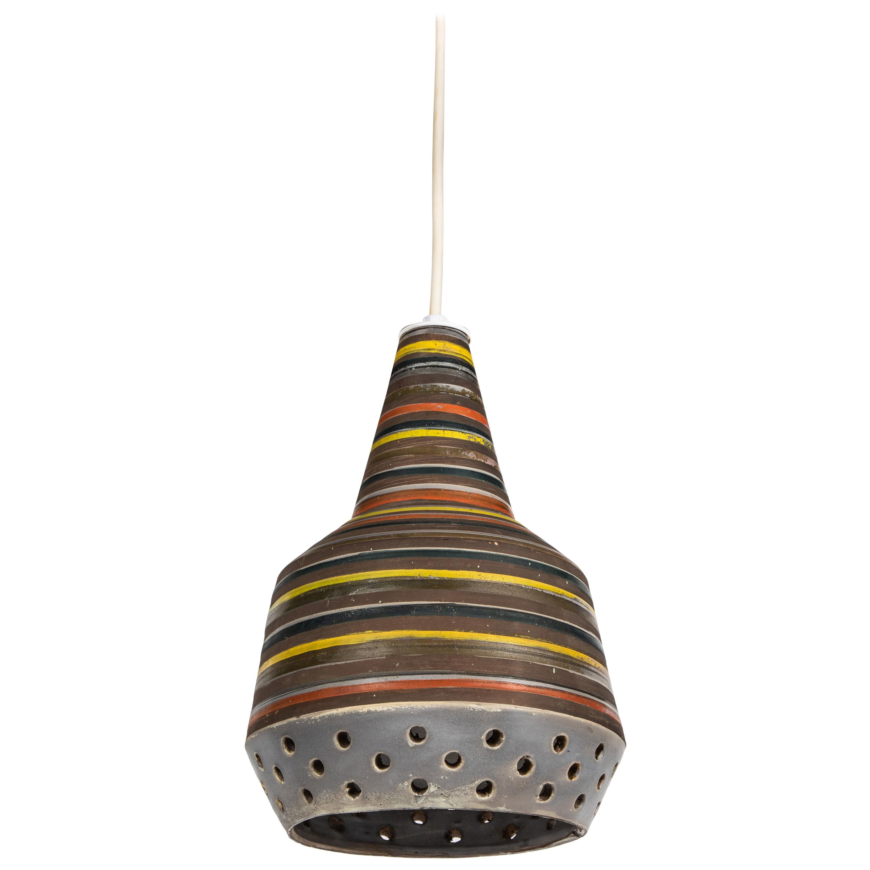 1950s Aldo Londi Ceramic Bitossi Pendant Lamp for Italian Raymor
