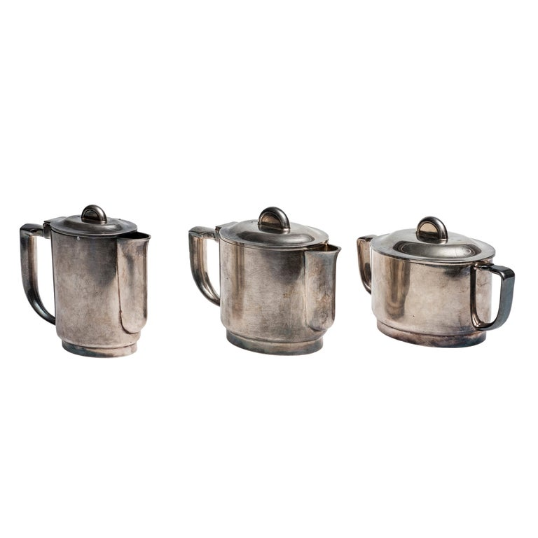 Coffee Set by Giò Ponti and Arthur Krupp Berndorf, Silver Plate, 1930s For Sale