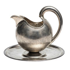 Silver Jug with Saucer by Luigi Genazzi, 1920-1930