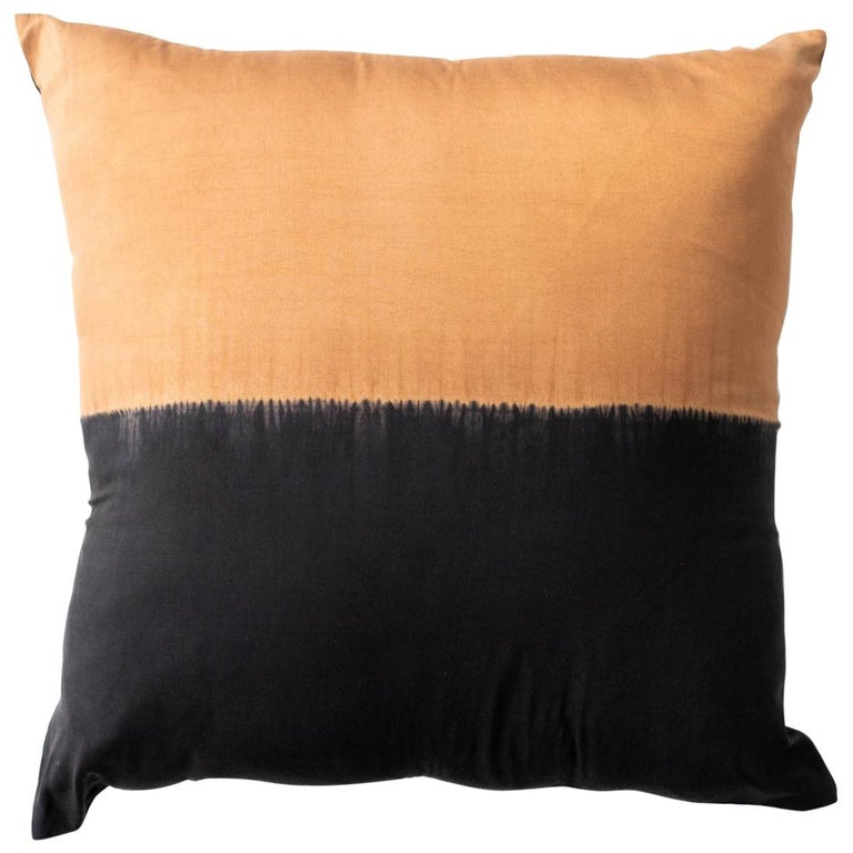 KALA Silk Color Block Pillow in Black Gold  For Sale