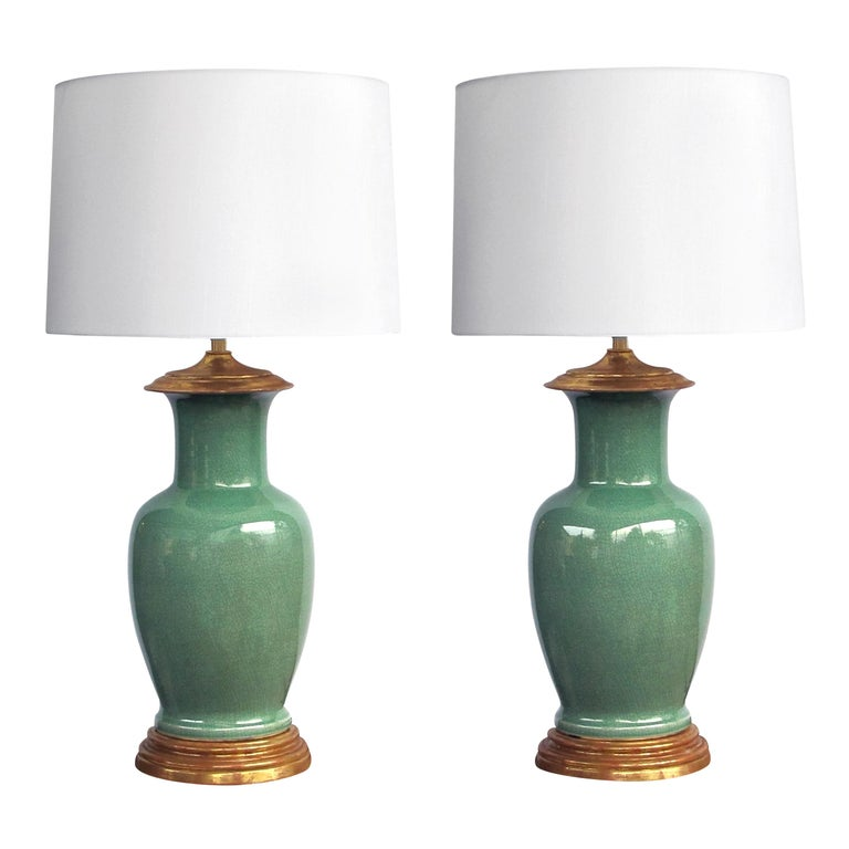 Good Quality Pair Of Vintage Celadon Le Glaze Lamps By Wildwood Lamp Co