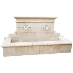 Hand Carved French Limestone Wall Fountain
