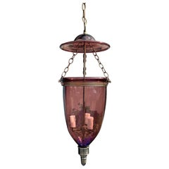 20th Century Purple Glass Belljar Three-Light Lantern