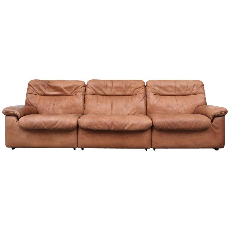 De Sede Natural Leather 3-Seat Sofa For Sale
