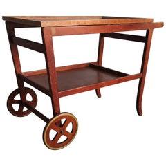 Midcentury Danish Teak Serving Trolley with Wheels