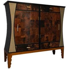 Aldo Tura Midcentury Goatskin and Brass Italian Sideboard or Drybar, 1950