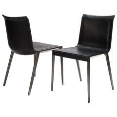 B&B Italia, Charlotte Dining Chair, Black Leather / Bronzed Nickel Frame