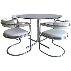 Midcentury English Chrome and Smoked Glass Dining Set